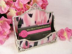 Pink Polkadot and Black Business Card Holder by MoreThanColors, $35.50