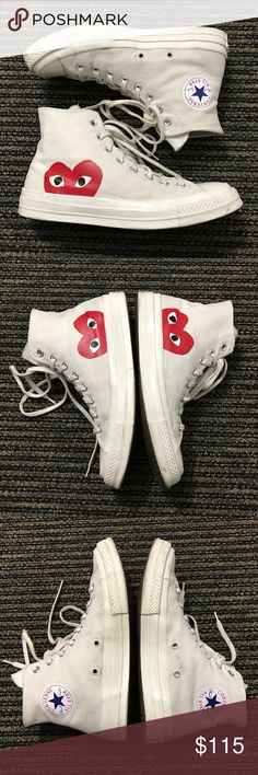 Converse Comme des Garcons white high top 8M/10W Would look brand new with a quick wash/cleaning. All flaws are shown in photos. Lace on left shoe is slightly dirty. Comme des Garcons Shoes Sneakers