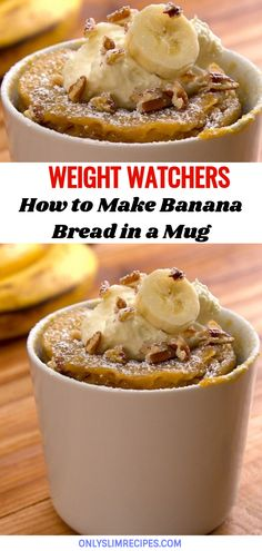 How to make banana bread in a mug - Banana Recipes Ww Desserts, Weight Watchers Desserts, Microwave Desserts, Microwave Meals, Diabetic Snacks, Healthy Snacks, Healthy Recipes, Drink Recipes, Cake Recipes