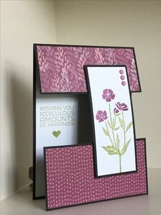 This card with a 'floating' front has been made using Blooms and Bliss SU papers and a stamp from the Wild About Flowers stamp set - created by Julia Jordan