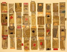 title: Recycle Totems, collage by Nancy Nikkal made with cut and pasted mono prints.