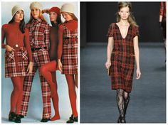 From left to right: Pandora Inc.'s 1970collectionfeaturing red plaidand Badgley Mischka's collection for New York Fashion Week, Fall 2015.