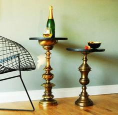 lamp base end tables,  so cool.. almost look like a hookah!