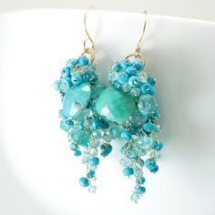 Bursting Gemstone Cluster Earrings by Scarlett Jewelry at CustomMade.com