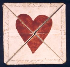 """A 1790 handmade valentine puzzle housed at the British Postal Museum. The text reads: """"My dear the Heart which you behold, Will break when you the same unfold, Even so my heart with lovesick pain, Sure wounded is and breaks in twain. Funny Valentines Cards, Vintage Valentines, Victorian Valentines, Saint Valentine, Be My Valentine, Valentine Images, Art Postal, Valentine's Day Poster, I Love Heart"""