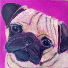 Pink Pug.Acrylic on canvas by j.bruguera@hotmail.co.uk