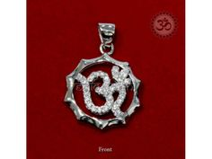 Om Chakra Pendant in Silver buy online from India : AUM is the signifier of the ultimate truth that all is one.The letters A,U and M represent the triad of Divinity,namely,Brahma-the creator,Visnu-the Maintainer,and Siva-the Destroyer of the universe.The whole symbol is said to represent Brahman from which the universe emanates,has its growth and fruition and into which it merges in the end.It does not grow or change. Many change and pass,but Brahman is the One that ever remains unchanged.
