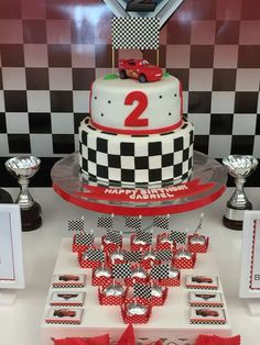 Cool cake at a Cars birthday party! See more party planning ideas at… Pixar Cars Birthday, Baby Birthday Themes, Race Car Birthday, Trains Birthday Party, Baby Boy 1st Birthday, 4th Birthday Parties, Cars Theme Cake, Hot Wheels Party, Disney Cars Party