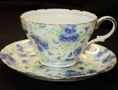 Shelley Henley Blue Pansy Chintz Tea Cup and Saucer. Beautiful, surprisingly thin and yet strong translucent bone china, Shelley tea cups come in a huge variety of shapes and patterns including chintz, floral, and art deco. Foley/Shelley China was made from 1860 to 1966 and was probably the zenith in English china manufacturing. ~ More Shelly love <3