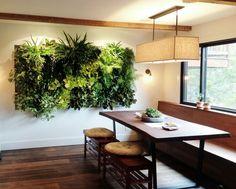 Indoor Vertical Garden by Brandon Pruett using lush ferns, lipstick plants and pothos.  http://www.livinggreen.com/