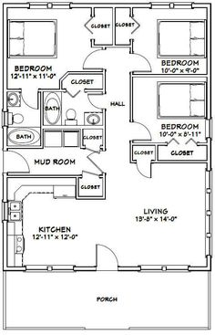 Build a Shed on a Weekend - Our plans include complete step-by-step details. If you are a first time builder trying to figure out how to build a shed, you are in the right place! 3 Bedroom Floor Plan, House Plans 3 Bedroom, 30x40 House Plans, The Plan, How To Plan, 1000 Sq Ft House, Plan Chalet, Small House Floor Plans, Square Floor Plans