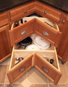 "Yeah, corner DRAWERS.  Makes more sense than a lazy susan...at least to me (who has only three puny drawers, the widest of which is only 8"")"
