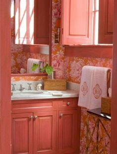 Orange Bathrooms, Grey Bathrooms, Beautiful Bathrooms, Cottage Bathrooms, Home Design, Interior Design, Interior Ideas, Coral Pantone, Orange Rooms