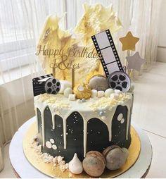 T Hollywood Cake, Custom Cakes, Cake Decorating, Birthday Cake, Baking, Desserts, Food, Drink, Food Cakes