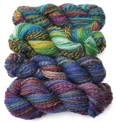 Patchworkyarns. These are spun from a collection of bobbin ends, producing interesting motley yarns.