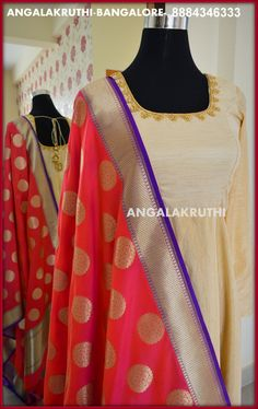 #Raw silk Anarkali with silk duppata design by Angalakruthi- #Ladies and kids boutique in Bangalore #benarsi duppata; #custom designer boutique