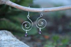 Silver Wire Swirl Earrings, Silver Earrings, Purple Crystal Earrings, Drop Earrings, Silver Drop Earrings