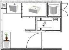Aménagement d'une salle de bain et de toilettes - Plan réalisée avec le logiciel Sweet Home 3D de l'idée n°1