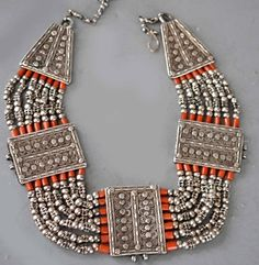 silver and coral collar Yemen
