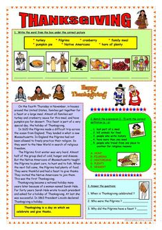 Thanksgiving - short history & vocabulary