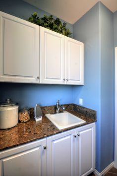 Hamilton Thermofoil door style with a white finish as featured in a laundry room. Laundry Room, Hamilton, Kitchen Cabinets, It Is Finished, Doors, Home Decor, Style, Swag, Decoration Home