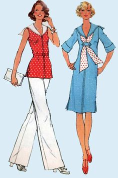 1970s Simplicity 6932 Nautical Dress or Top with by sandritocat, $15.00