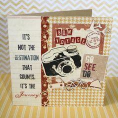 Travel Card Bon Voyage Cards, Scrapbook Cards, Scrapbooking, Craft Projects, Projects To Try, Travel Cards, Travel Images, Masculine Cards, Project Life