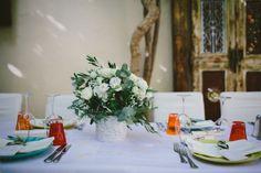 Wedding reception in Rethymnon Wine cellar - Enoteca Photographer : Graham Hodgetts Rethymno Crete, Garden Venue, Wine Cellar, Graham, Wedding Reception, Table Settings, Weddings, Table Decorations, Flowers