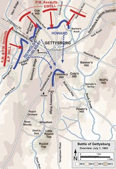 Gettysburg Battle Map Day 1 - Overview map of the first day of the Battle of Gettysburg, July 1, 1863