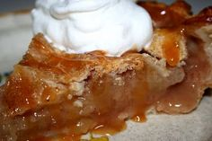 Old Fashioned Apple Pie - made with mixed apples and jam and pictured with a drizzle of caramel sauce.