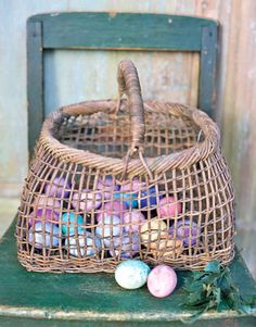 Simple, Rustic Easter Table Display using Dyed Eggs & a Woven Basket