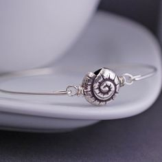 Mother's Day gift for mom! Shell Bangle Bracelet - Sterling Silver Beach Jewelry by georgiedesigns