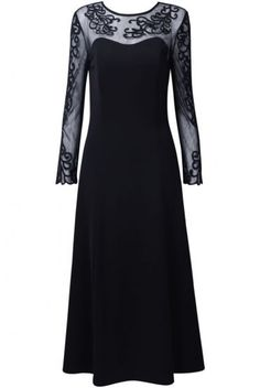 Black Long Sleeve Contrast Mesh Top Keyhole Back Prom Dress pictures