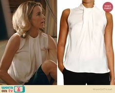 Elizabeth's white sleeveless draped front top on Madam Secretary.  Outfit Details: http://wornontv.net/39183/ #MadamSecretary