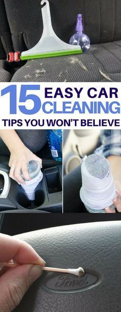15 Car Cleaning Tips & Tricks to Transform Your Dirty Car Genius car cleaning hacks I must try on my dirty car! How to clean headlights, tires, get rid of bumper stickers and more amazing car cleaning tips & tricks using things I already have! Car Cleaning Hacks, Deep Cleaning Tips, Car Hacks, Toilet Cleaning, House Cleaning Tips, Diy Cleaning Products, Cleaning Solutions, Spring Cleaning, Hacks Diy