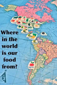 LOVE THIS IDEA! Where is our Food from? Mapping our fruits and vegetables, lessons about buying local, in season, and climate.