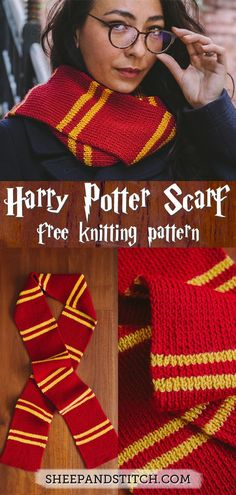 This Harry Potter Scarf Knitting Pattern is great for beginner knitters. Use the colors from your favourite Hogwarts House and knit away! This Hogwarts scarf comes together in two shakes of a newt's tail! Harry Potter Scarf Pattern, Tricot Harry Potter, Harry Potter Crochet, Beginner Knitting Patterns, Knitting For Beginners, Easy Knitting, Start Knitting, Knitting Ideas, Diy Scarf