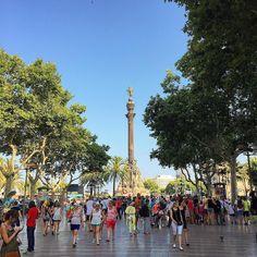 La Rambla i l'estàtua de Colom. Barcelona, Catalonia