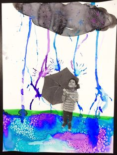 smART Class: April Showers and Jellyfish Watercolor Resist Tech Art, Weather Kindergarten, Weather Art, Smart Class, First Grade Art, Jr Art, Art Lessons Elementary, Spring Art, April Showers