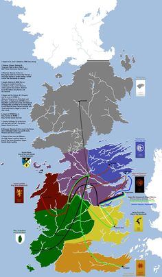 "A map explaining the original conquest by Aegon Targaryen three centuries before the events of Game of Thrones. 27 Maps That Will Change How You Think About ""Game Of Thrones"" Game Of Thrones Facts, Got Game Of Thrones, Game Of Thrones Funny, Fantasy Map, Fantasy World, Westeros Map, Got Map, Game Of Trones, Area Map"