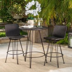 Good place Prevost Outdoor 3 Piece Bar Set By Wrought Studio Bar Furniture For Sale, Outdoor Furniture Sets, Outdoor Rooms, Outdoor Living, Bistro Table Set, Outdoor Bar Sets, Wine Bar Cabinet, Hanging Wine Rack, Home Depot Adirondack Chairs