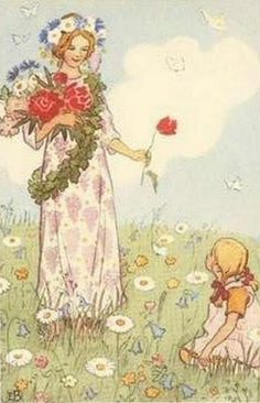 """Elsa Beskow Illustration- """"Fairy of Midsummer"""" from 'The Flower's Festival' (Swedish author & illustrator ca. 1874-1953)"""