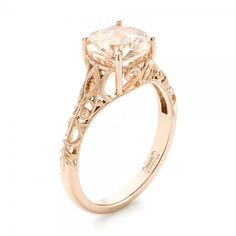Custom Rose Gold Solitaire Morganite Engagement Ring | Joseph Jewelry | Bellevue | Seattle | Online | Design Your Own Ring