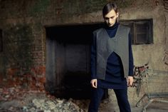 Grey green vest by JA by Jelena Aleksic on Young Republic - http://www.youngrepublic.com/men/tops/grey-green-vest.html