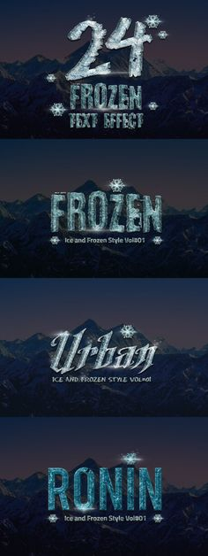 24 Frozen and Ice Text Effect. Photoshop Layer Styles. $11.00