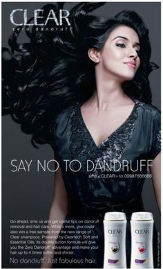 "The woman is quite obviously made to look quite beautiful in this advertisement, with her hair flowing lustrous in the wind. The short slogan ""Say no to dandruff"" is meant to counter people's thoughts that while dandruff is natural, it can still be prevented. This advertisement is clearly aimed towards women, who aim to look as beautiful as the model portrayed, whose beauty can supposedly be achieved through use of the shampoo."