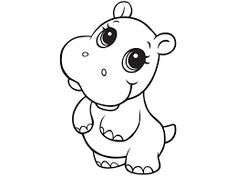 cute hippo coloring pages - Google Search