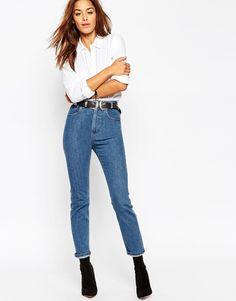 Image 4 ofASOS Farleigh Slim Mom Jeans In Casper Flat Blue US Free returns!