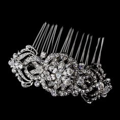 Antique Silver Crystal Bridal Hair Comb 934