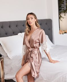 Pajamas For Women Sleepwear Ladies Pyjama Tops Uk Cotton Nighties Uk Secret Support Pyjamas Lace Bridal Robe, Bridal Party Robes, Bridal Gifts, Cute Sleepwear, Sleepwear Women, Pajamas Women, Bridesmaid Robes, Bridesmaids, Pretty Lingerie